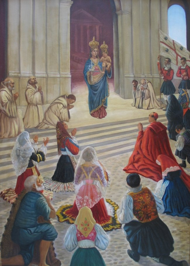La Madonna di Bonaria è ben rappresentata in tale quadro con l'emerito titolo di Mamma della Sardegna. Possimo vedere intorno a Lei prostrati i frati Mercedari e davanti gente di tutta l'isola con i caratteristici costumi. Notare la bandiera sarda